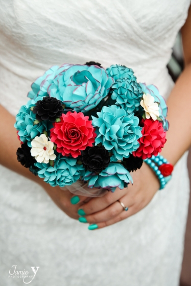 Teal, Red, and Black Paper Wedding Bouquet! | paperflowerstudio